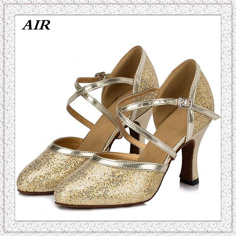 Sequined Cloth Comfortable Silver Women s Salsa Ballroom font b Tango b font Shoes Pointed Toe