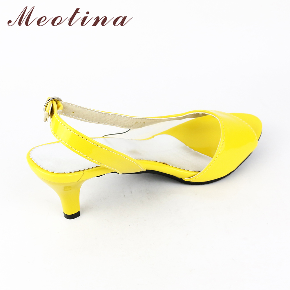 Meotina Shoes Women Sandals Summer Ladies Sandals Transparent Neon Low Heels Designer shoes High Heels Yellow Big size 11 12 46