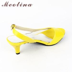Image 5 - Meotina Shoes Women Sandals Summer Ladies Sandals Transparent Neon Low Heels Designer shoes High Heels Yellow Big size 11 12 46