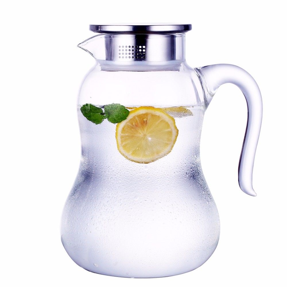 ONEISALL 2000ml Glass Water Pitcher with Lid 68 ounces Glass Jar for Coffee infuser Teapot Hot