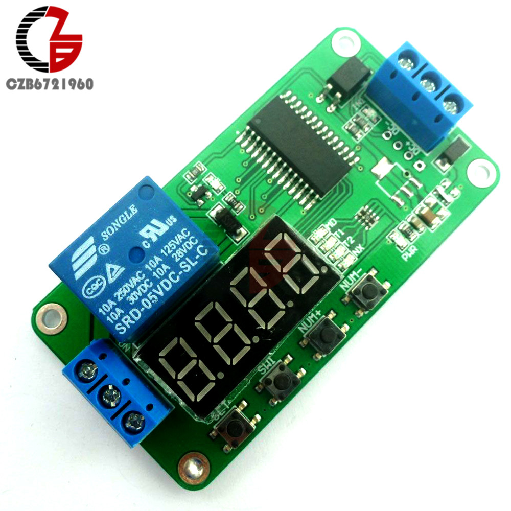 DC 5V Digital LED Display Multi-function Delay Relay PLC Cycle Timer Module Time Switch for Arduino UNO MCU Development Boards led digital display circle delay time relay module time adjustable blue 12v