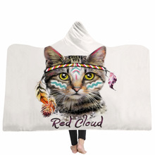Yoga mat Hooded Blanket Cloak Magic Hat Thick Double-layer Plush 3D Digital Printing Cat Series