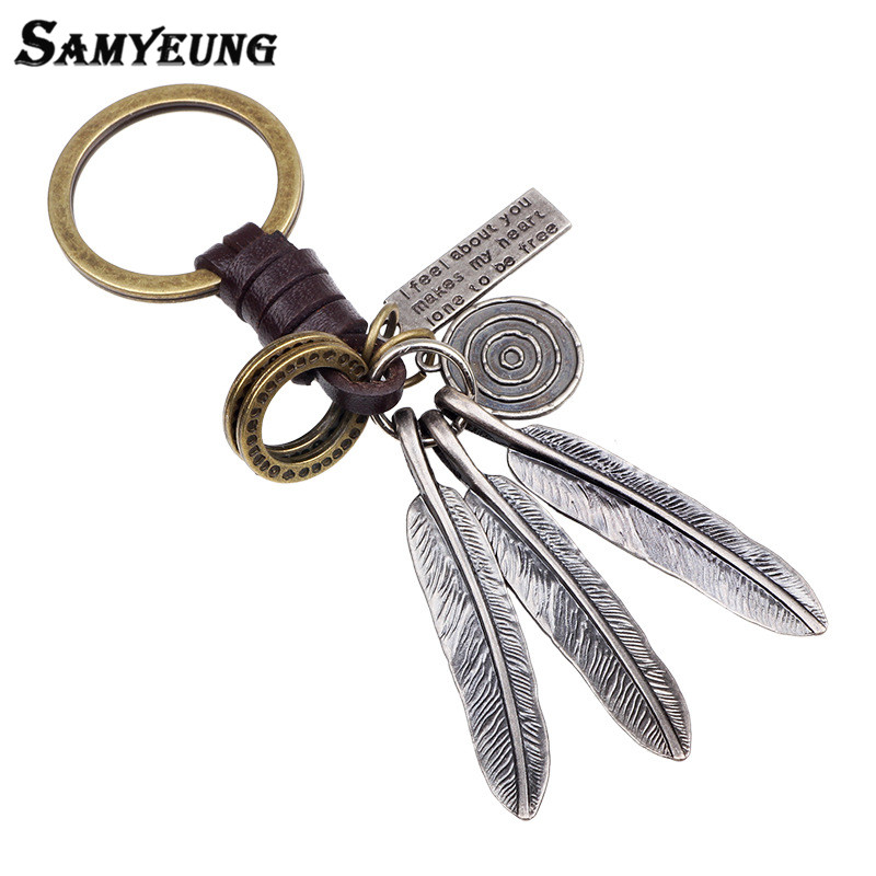 Samyeung Steampunk Leather Keychains For Men Silver Leaves
