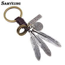 Samyeung Steampunk Leather Keychains for Men Silver Leaves Car Key Chain Steel Key Holder Keyring Man Jewelry Porte Clef