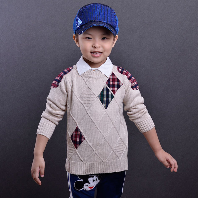 children sweater baby boys O-Neck plaid patchwork sweater winter longsleeve fashionable knitted pullover spring&autumn clothing
