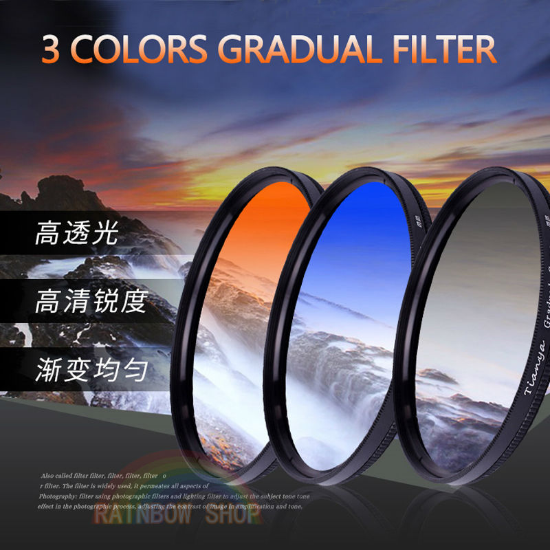 GND filter Circular Gradual Filter Gray Blue Orange and 3in1 Gradient Filter Caliber 37/40.5/46/49/52/55/58/62/67/72/77/82mm все цены