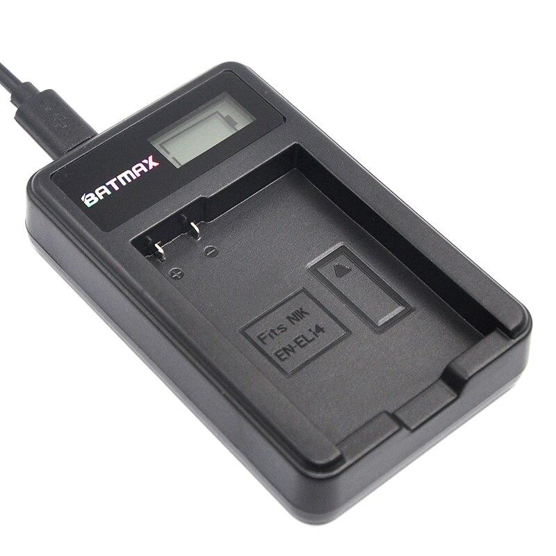 Cargador del USB del LCD para EN-EL14 EN-EL14a ENEL14 batería para Nikon P7800, P7100, D3400, D5500, D5300, d5200, D3200, D3300, D5100, D3100, Df.