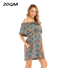 ZOGAA 2019 New Women Summer Off Shoulder Vintage Boho Mini Chains Ruffles Chiffon Dress Party Beach Ladies Floral Sundress