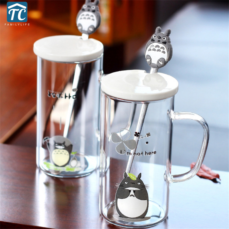 Cute Totoro Mug Creative Coffee Mug With Stainless Steel Spoon Eco-friendly Glass Cup Ceramic Lid Decoration Afternoon Tea Heat