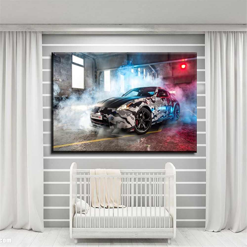 Modern Wall Decor Artwork 5 Panel Discoloration Painted Smoke Graffiti Cars Painting One Set Modular Art Poster On Canvas Print