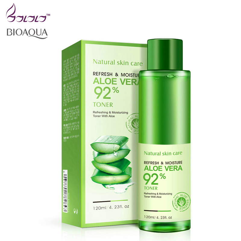 BIOAQUA aloe vera smoothing face toner oil control pores brightens skin color face skin care repairing moisturizing remove acne цена