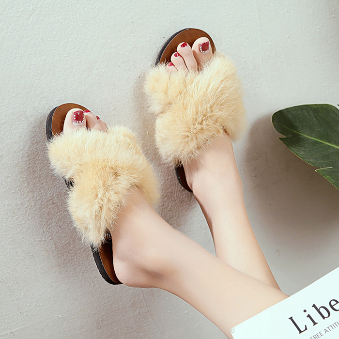 7d479fd6a Clear Stock Good Quality Girl Vivid Faux Fur Slippers Shoes Flat Bottom Fur  Shoes Small White Shoes Outdoor Flats Slipper-in Slippers from Shoes on ...