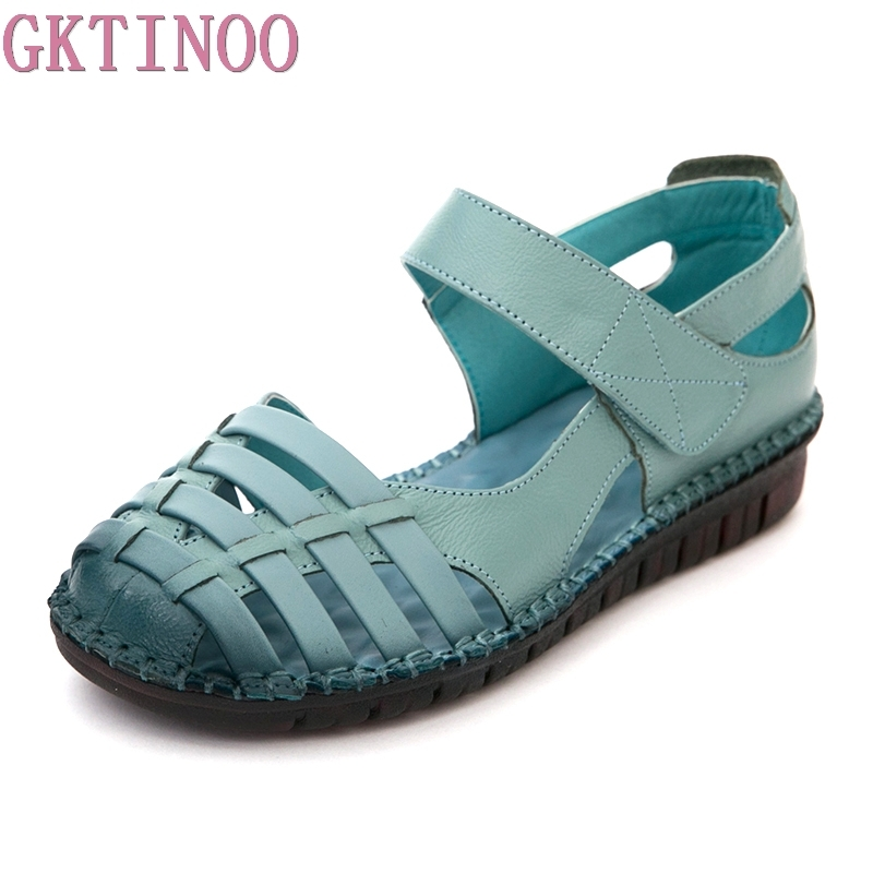 GKTINOO 2018 Summer New Soft Bottom Flat Genuine Leather Women Shoes Cut Out Gladiator Women Sandals Retro Handmade Sandals недорго, оригинальная цена