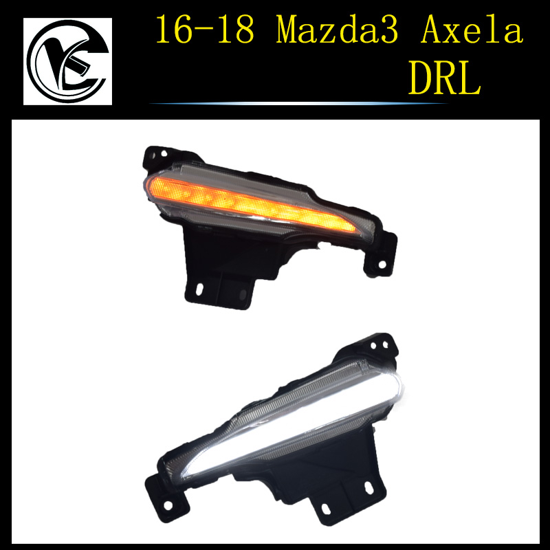 QINYI LED Daytime running lights for Mazda 3 2017 2018 mazda3 DRL with 12V relay yellow turning signal lamp