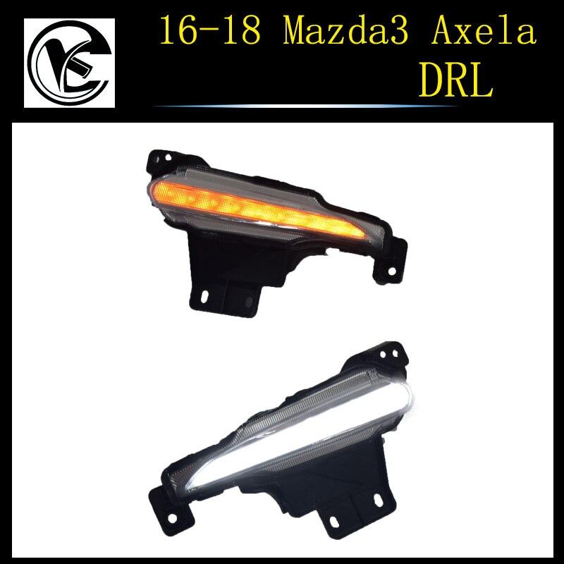 QINYI LED Daytime running lights for Mazda 3 2017 2018 mazda3 DRL with 12V relay yellow turning signal lamp