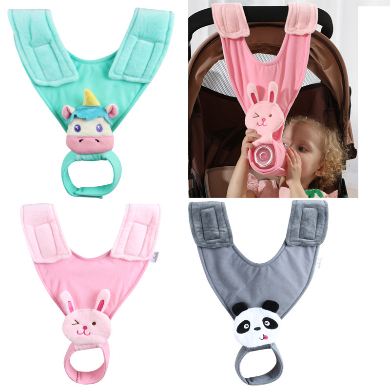 Creative Cute Baby Animal Pattern Feeding Milk Bottle Holder Plush Cotton Adjustable Nursing Holders For Baby Stroller