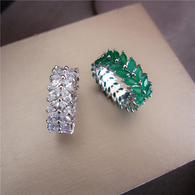 купить Fashion AAA cubic zirconia olive branch shaped ring,full stones ,shinning, copper base band ring for women,R0216 по цене 574.58 рублей