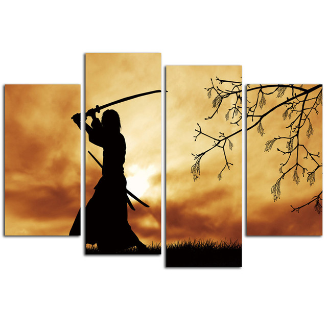 Samurai Canvas Arts Living Room Modern Japanese Wall Pictures Poster Printed Artworks Cheap Home