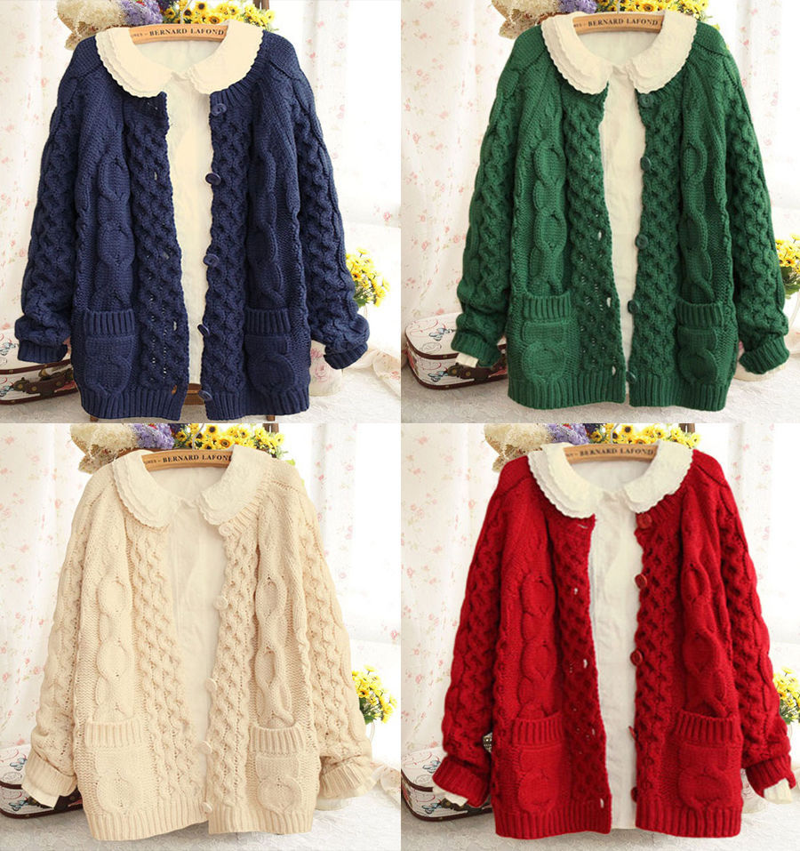 Kawaii Womens Lolita Winter Cardigan Cute Knit Japanese Sweater ...