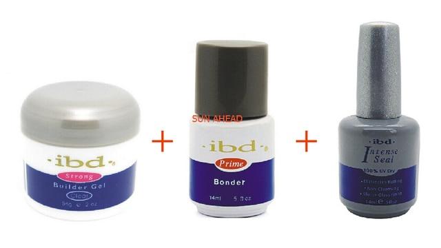 (3 pcs / Sets) Nail IBD UV Gel Builder Nail Art Pink Clear White Bonder Primer Base Top coat Intense Seal Registered Mail