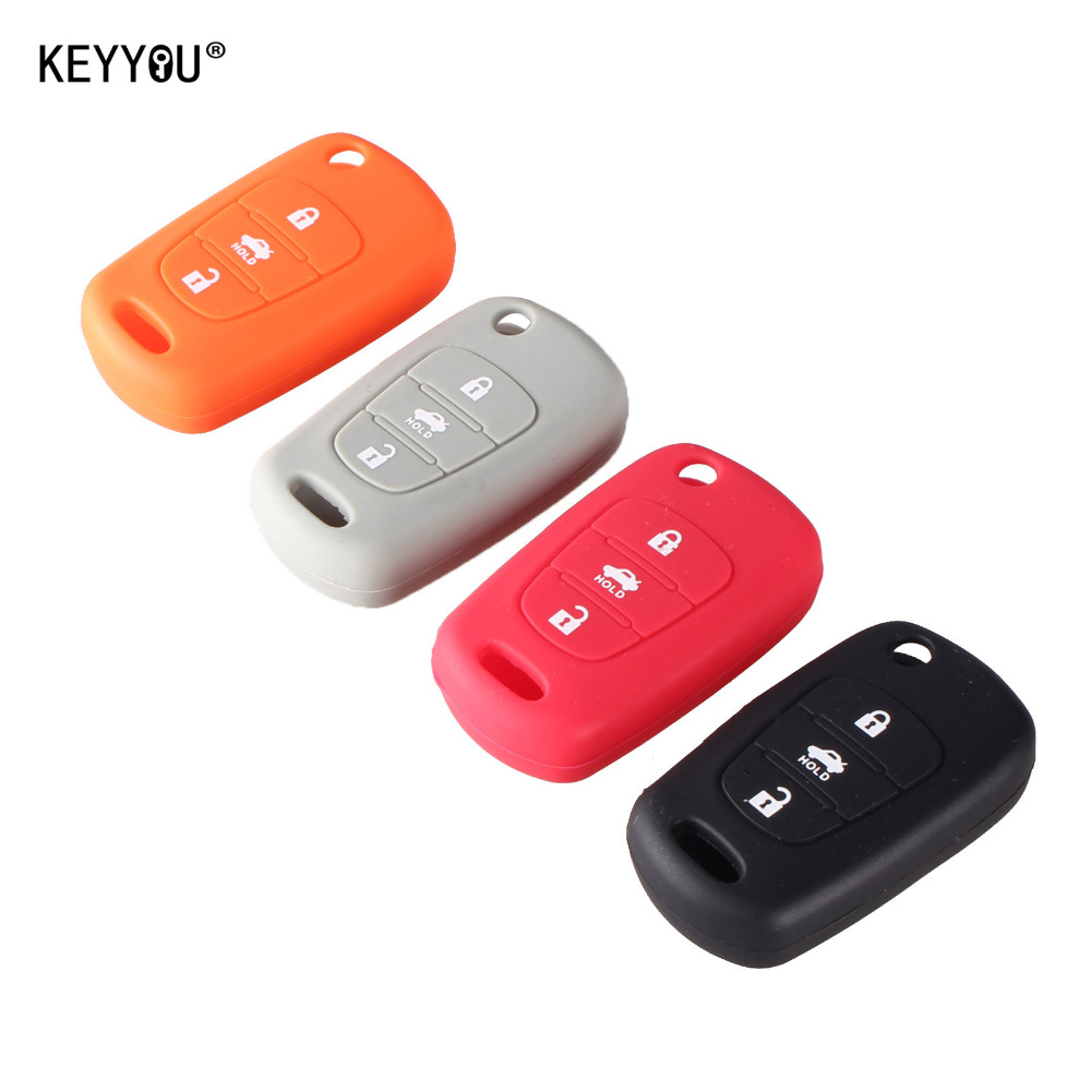 KEYYOU Silicone 3 Button Flip Remote Key Fob Case Cover For for Kia K2 K5 Pro Ceed HYUNDAI i20 i30 i40 SANTA Car Key Cover keyyou new 3 buttons flip remote key shell for hyundai i30 ix35 kia k2 k5 folding remote key case