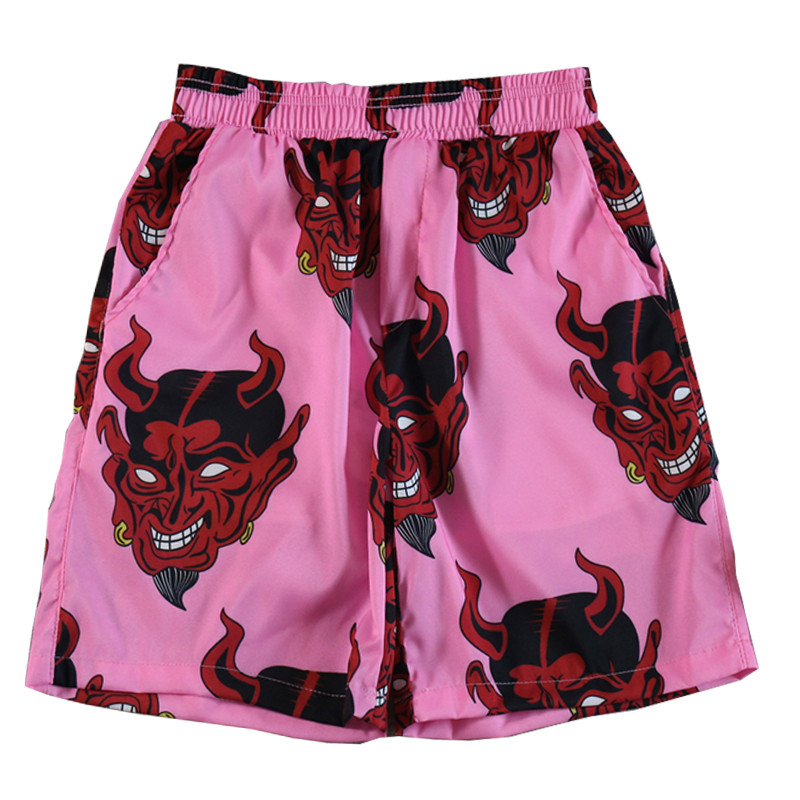 Harajuku Shorts Women Devil Full Printed Elastic High Waist Loose Beach Summer Shorts New Fashion Streetwear Shorts Unisex