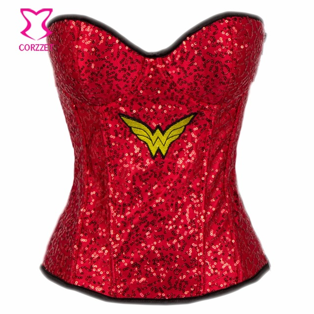 a53d3adabd Red Sequin Party Wonder Woman Cosplay Sexy Corset Gothic Clothing Corsets  And Bustiers Burlesque Costumes Espartilhos