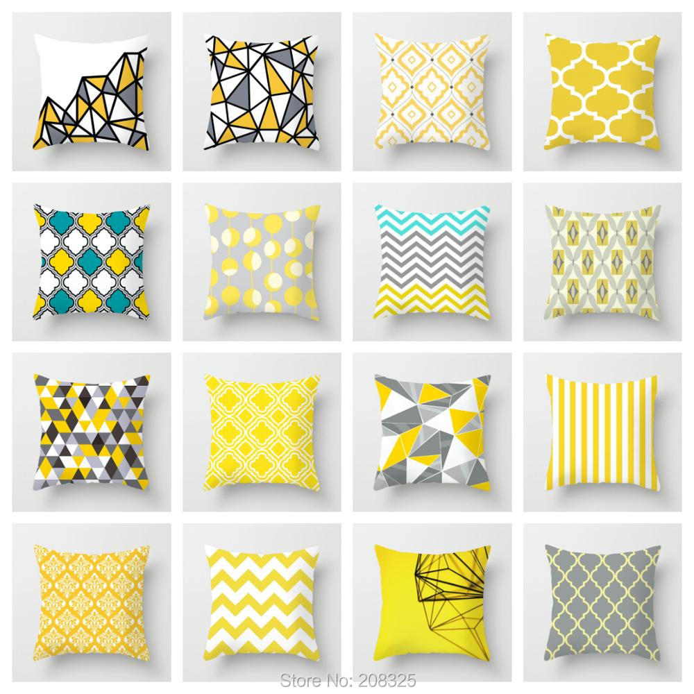 ZENGIA Yellow Cushion Cover Gray Decorative Pillows Geometric Cushion Cover For Sofa Decor Throw Pillows Cover Mustard Pillow