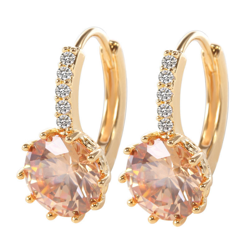 H:HYDE High Quality Gold color Champagne CZ Zircon Around Hoop Earrings For Women Fashion Wedding Jewelry Earring brincos