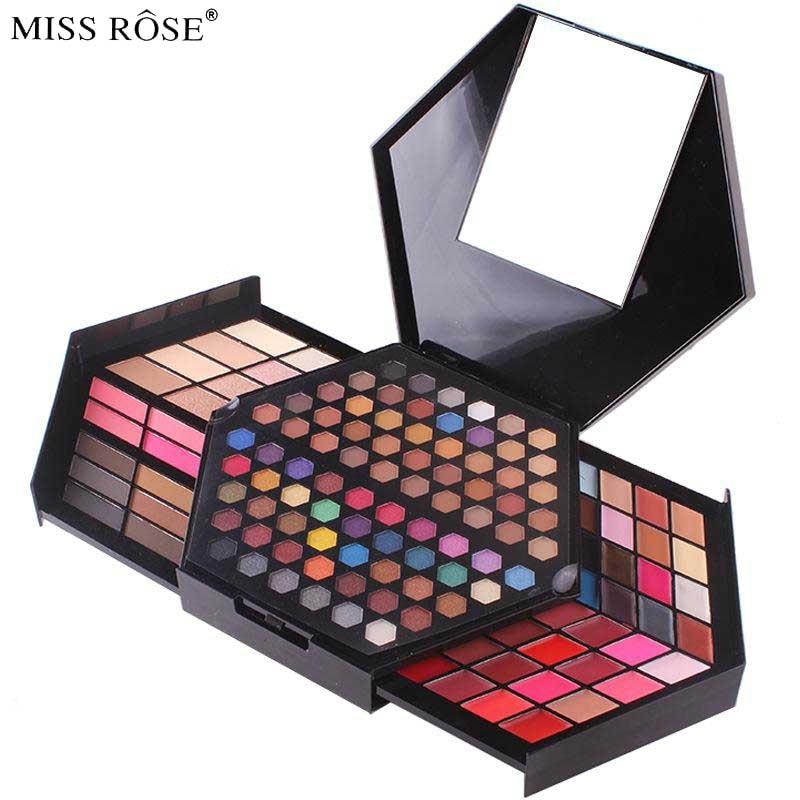 Miss Rose 2017 New Professional Full Cosmetics Set Eye Shadow Lipstick Highlighter Powder Contour Eyes Face Lips Makeup Set filorga optim eyes eye contour