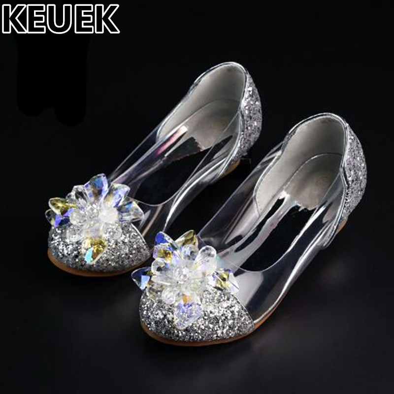 NEW Genuine Crystal Shoes Children Fashion Rhinestones Low heeled Shes Girls Princess wedding Party Dance Kids