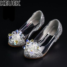 NEW Genuine Crystal Shoes Children Fashion Rhinestones Low-heeled Shes Girls Princess wedding Party Dance Kids Leather Shoes 044