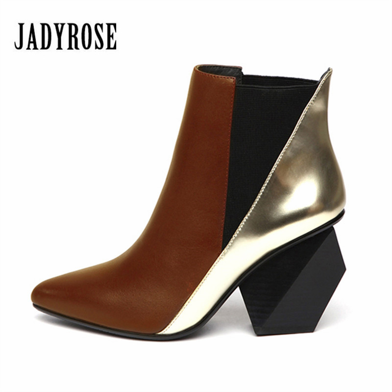 Jady Rose Brown Women Ankle Boots Slip On Genuine Leather Strange High Heel Bota Pointed Toe Botas Mujer Women Pumps Martin Boot strange heel women ankle boots genuine leather elastic booties wedge shoes woman high heels slip on women platform pumps