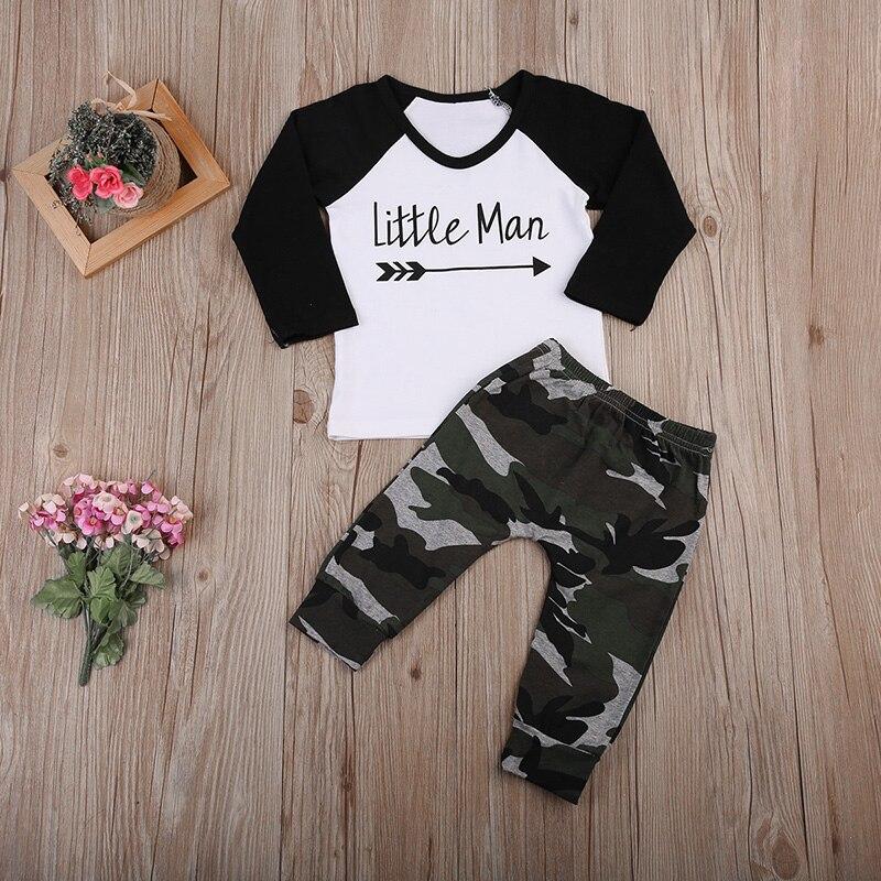 Комплекты одежды для маленьких мальчиков «Little Man» Футболки камуфляжные штаны 2 шт. д ...