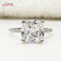 COLORFISH Cushion Cut 3 Carat Engagement Ring 100% Real 925 Sterling Silver Jewelry for Women Synthetic Sona Female Finger Ring