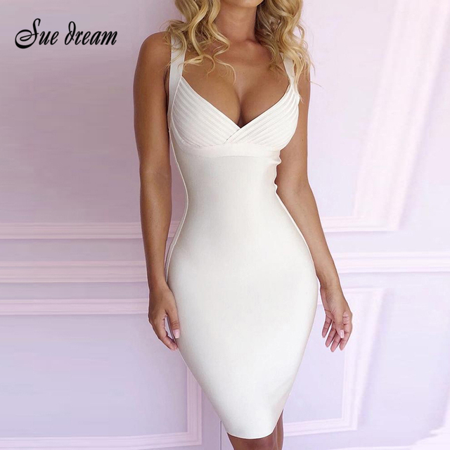 New Arrival 2019 White Spaghetti With Bodycon Do Knee-length Women's Bandage Dress Deep V-neck Club Party Dress Wholesale
