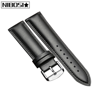 NIBOSI Gold Stainless Steel Mesh Belt Bracelet Strap Genuine Leather Strap Stainless Steel Strap Watch Strap Size 20 22 mm image