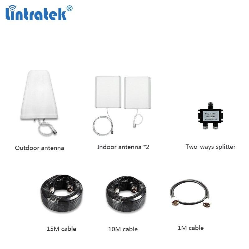 Lintratek ensemble d'antenne pour amplificateur de signal LPDA panneau extérieur antenne intérieure 15 M 10 M câble 2G 3G 4G pour amplificateur répéteur #8.6