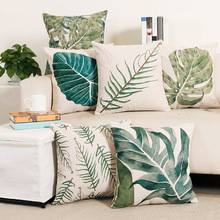 45x45cm Simple Car Home Decor Pillow Case Tropical Plants Green Leaves Cushion Sofa Cover Throw Pillow chic quality green plants pattern flax pillow case(without pillow inner)