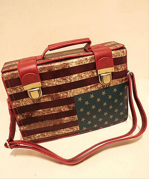 SALE Female 2013 ladies fashion vintage bags Flag bag pattern Shoulder messenger Bag leather handbag free shipping