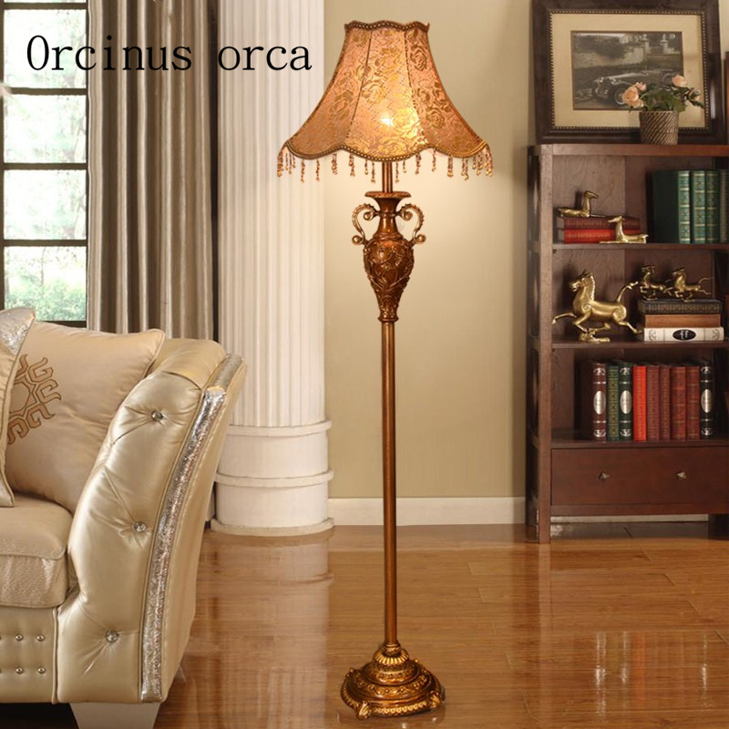 European style living room, bedroom, American RETRO art study creative vertical desk lamp Nordic luxury floor lamp Postage free