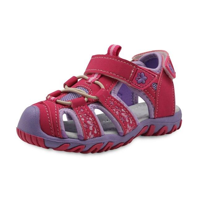 Apakowa Новые девушки спортивные пляжные сандалии с вырезами Летняя обувь для детей малыша сандалии с закрытым носком сандалии для девочек Детская обувь EU 21-32