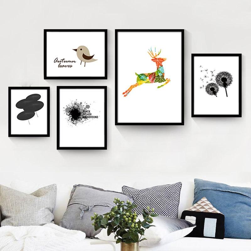 aucun cadre de bande dessin e animaux nordique murale papersimple toile mur peinture mignon. Black Bedroom Furniture Sets. Home Design Ideas