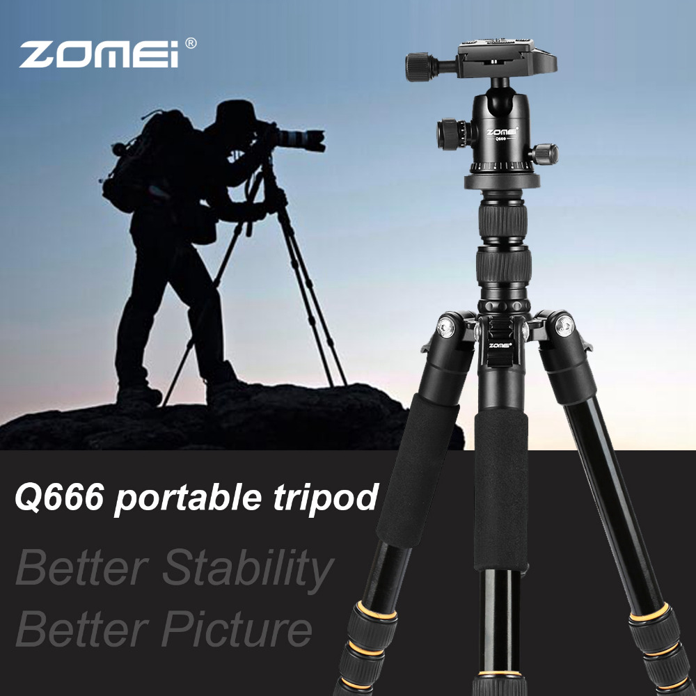 Image 3 - ZOMEI lightweight Portable Q666 Professional Travel Camera Tripod Monopod aluminum Ball Head compact for digital SLR DSLR camera-in Live Tripods from Consumer Electronics