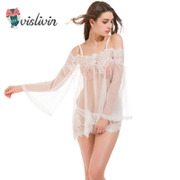 Vislivin New Arrival Sexy Lingerie Women Summer Transparent Lace Nightdress Plus Size White Babydoll Pajamas Soft