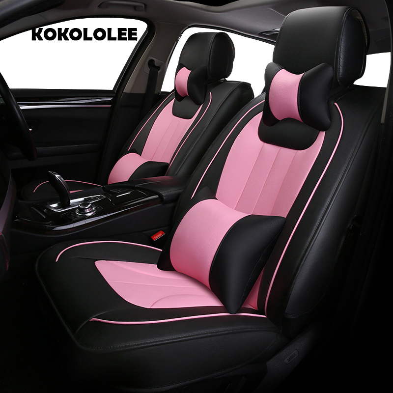 KOKOLOLEE pu leather car seat cover for Benz Subaru Peugeot LIfan Kia Citroen Brilliance car accessories auto styling Automobile pu leather automotive universal car seat covers t shit fit seat cover accessories for kia aio ford focus 2 lada granta toyota