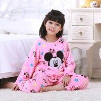 Autumn And Winter Pajamas Kids New Baby Girls Cartoon Pajama Set 2pcs Sleepwear Kids Minnie Mouse