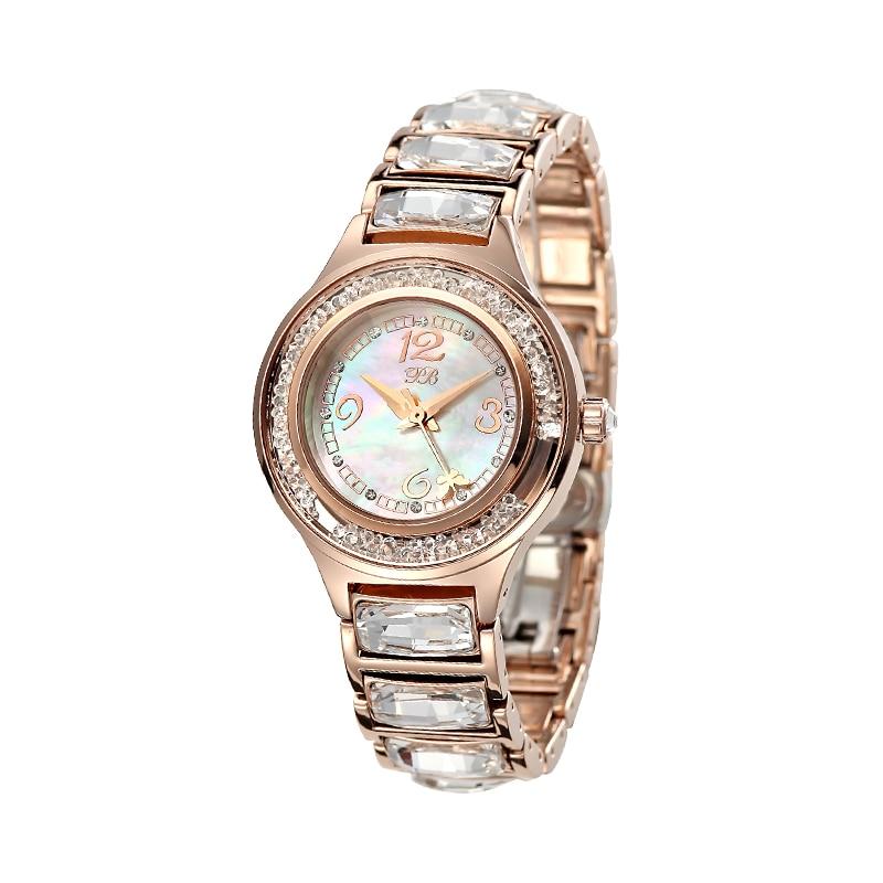 Rose Gold Austrian Crystal Quartz Watch Famous PB Brand Princess Butterfly Luxury Women Crystal Watch Lady Sapphire Wrist Watch