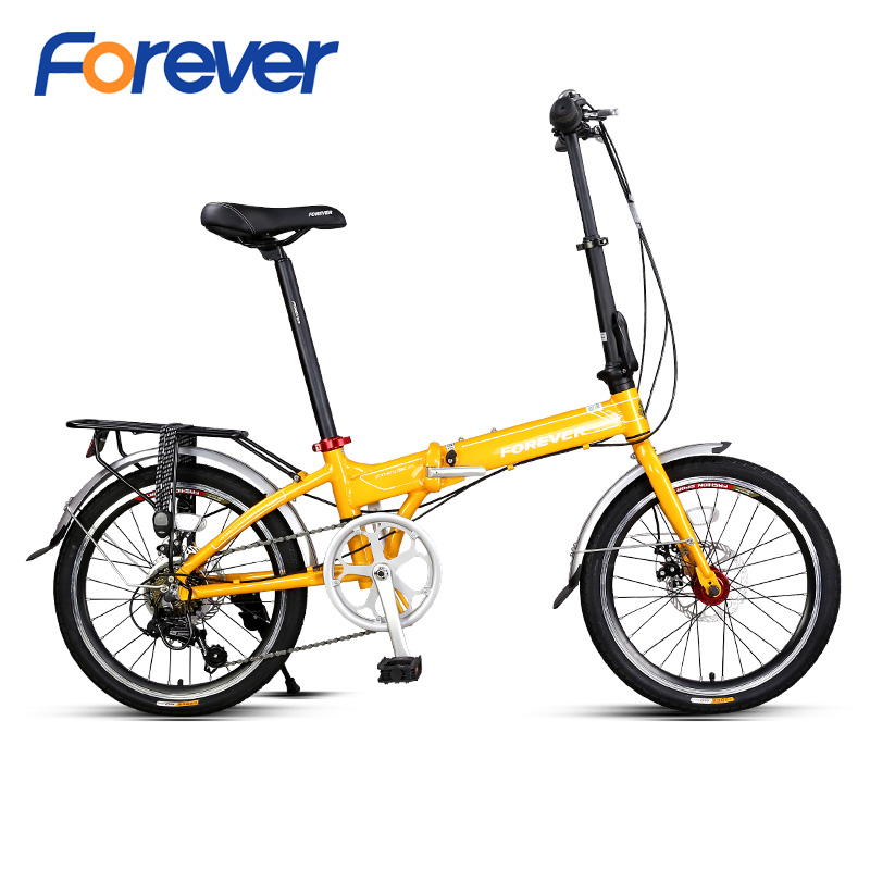 FOREVER Mini Folding Bike 20 Inch Aluminium Alloy Frame Double Disc Brake Bike Road Cycle Variable Speed Women Cycling Bicycle