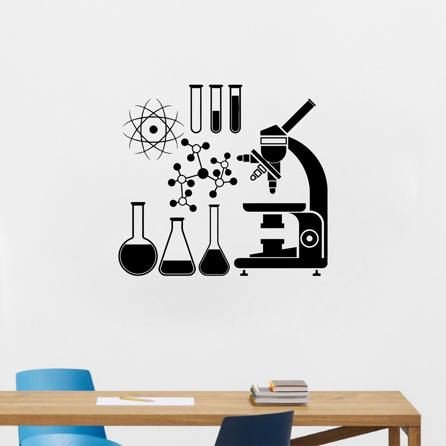 New arrival diy Microscope Science Scientist Chemistry Vinyl Wall Sticker School laboratory Wall Art Mural Decals Decor